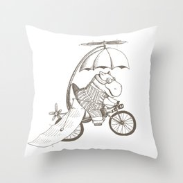 Hippo's Flying Machine Throw Pillow