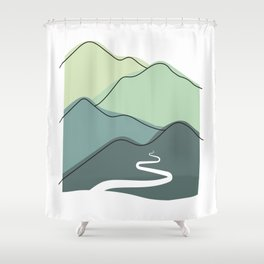 Foggy hills (shades of green) Shower Curtain