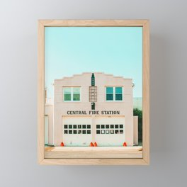 Pink fire station, Marfa, West Texas Framed Mini Art Print