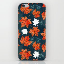 Autumn leaves against dark blue iPhone Skin