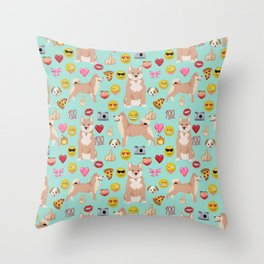 shiba inu emoji dog breed pattern Throw Pillow