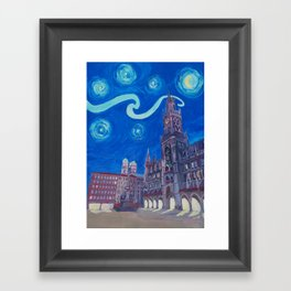 Starry Night In Munich - Van Gogh Inspirations with Church of Our Lady and City Hall Framed Art Print