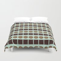 cookie monster Duvet Covers featuring Cookie Monster (mint) by Sidrah  Mahmood