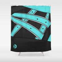 saga Shower Curtains featuring Diamond x Kith - Asics gel saga Tiffany/Black by SNEAKERPILLOW