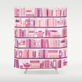 Bookcase Pattern Romance Pink Books Shower Curtain