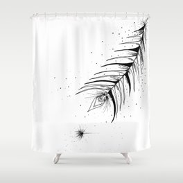 Tribal Floral Ink Art Shower Curtain