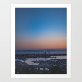 Greek sunset in Athens by the sea Art Print