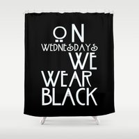 coven Shower Curtains featuring On Wednesdays We Wear Black by Page394