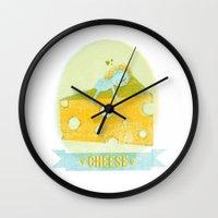 cheese Wall Clocks featuring Cheese  by Hadar Geva