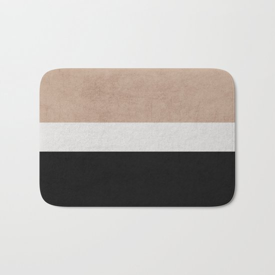 classic - natural, cream and black Bath Mat