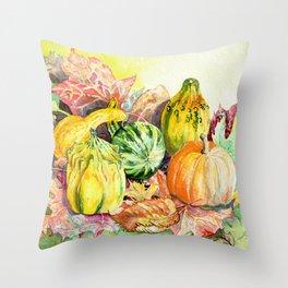 Autumn Harvest, Still Life, Original Watercolor Throw Pillow
