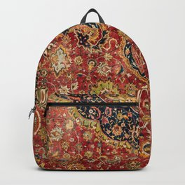Indian Boho II // 16th Century Distressed Red Green Blue Flowery Colorful Ornate Rug Pattern Backpack