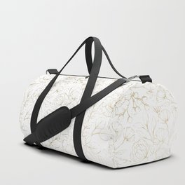 Elegant simple modern faux gold white floral Duffle Bag