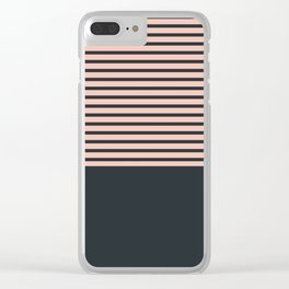 Navy stripes on pale pink Clear iPhone Case
