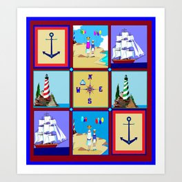 Another Nautical Quilt but with Compass Rose Art Print