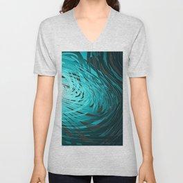 Complex Spiral-Aqua Unisex V-Neck