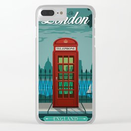 Vintage Travel Poster - London Clear iPhone Case