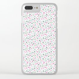 Red and Green Floral Doodles on White. Watercolor Flowers and Leaves. Scandinavian Style Summer Patt Clear iPhone Case