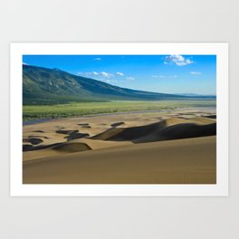 Great Sand Dunes against mountains Art Print