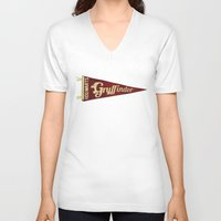 gryffindor V-neck T-shirts featuring Gryffindor 1948 Vintage Pennant by Andy Pitts