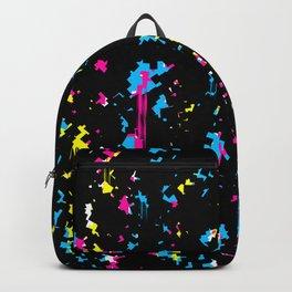 Black Glitch Dripping Backpack