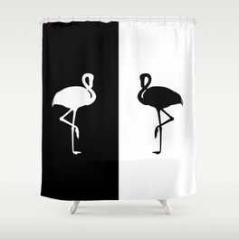 Flamingo black and White Shower Curtain