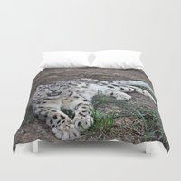 snow leopard Duvet Covers featuring Snow Leopard by Kaleena Kollmeier