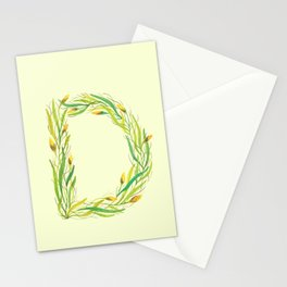 Leafy Letter D Stationery Cards