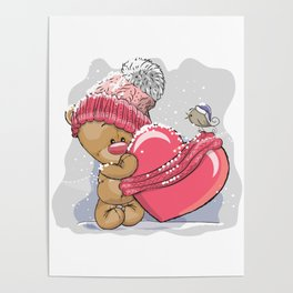 Pink cute Teddy bear with heart Poster