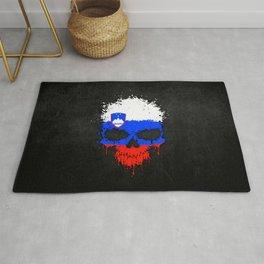 Flag of Slovenia on a Chaotic Splatter Skull Rug