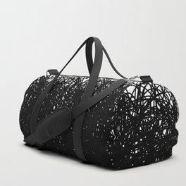 Static Abstract Dense Black & White Duffle Bag