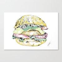 burger Canvas Prints featuring burger by Sarah James
