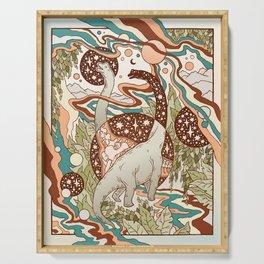 Jurassic Portal | Retro Rainbow Palette | Dinosaur Science Fiction Art Serving Tray