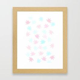 Teal and Pink Kush Leaf Framed Art Print