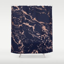 Modern chic navy blue rose gold marble pattern Shower Curtain