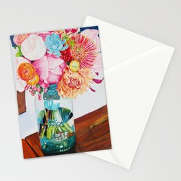 Flowers in a vase - Watercolour painting Stationery Cards