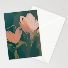 Pink Pastel Flowers On Green Canvas. Stationery Cards