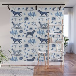 BIRD DOGS & CALSSIC BLUE FRENCH PORCELAIN Wall Mural