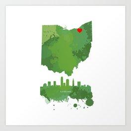 Cleveland skyline, Ohio state Art Print