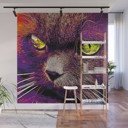 persian cat great eyes evil look vector art late sunset Wall Mural