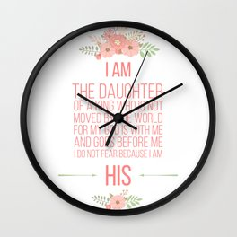 I Am His, Daughter Of A King (coral) Wall Clock
