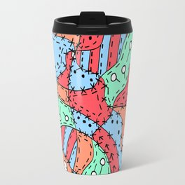 Doodle Art Buttons and Pins - Red Green Blue Travel Mug