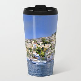 Symi island in Greece. Traditional houses. Sunny day with blue sky and sea. Travel Mug