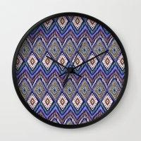 ikat Wall Clocks featuring IKAT by Isabella Salamone