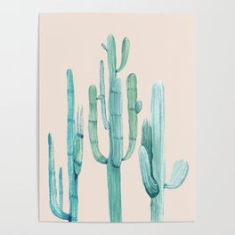Three Amigos Turquoise + Coral Poster
