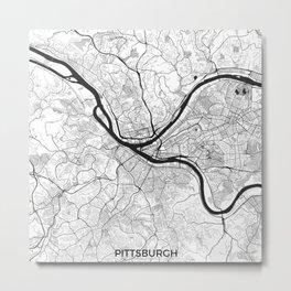 Pittsburgh Map Gray Metal Print