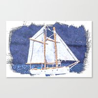 sailboat Canvas Prints featuring Sailboat by Michael P. Moriarty