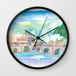 Rome Italy Castel Sant'Angelo Evening with Bridge Wall Clock