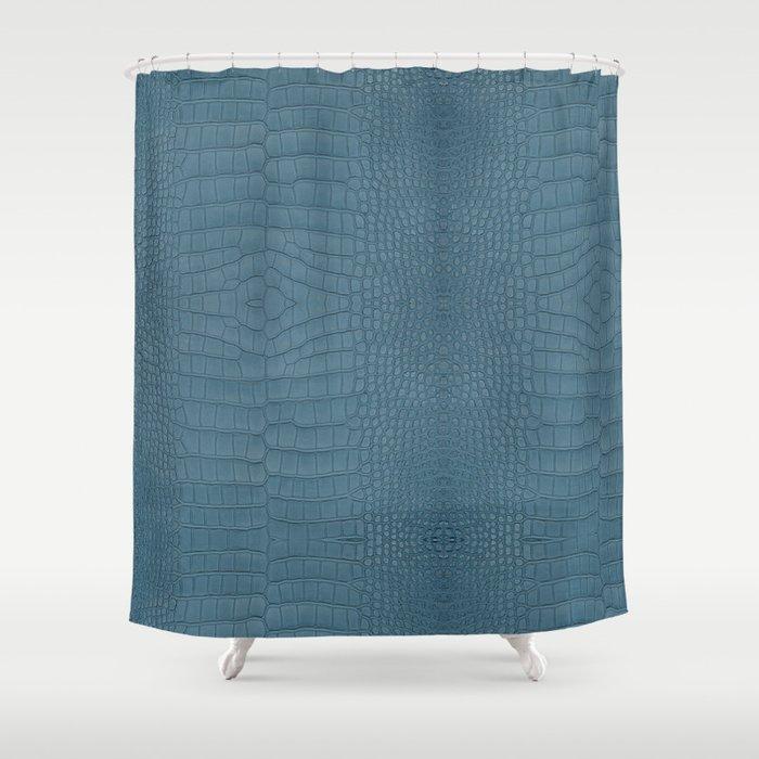 Turquoise Alligator Leather Print, Alligator Shower Curtain