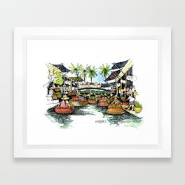 Floating Market, Rajburi, Thailand Framed Art Print